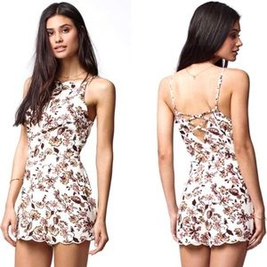 Kendall + Kylie Floral Scalloped Romper, cage back